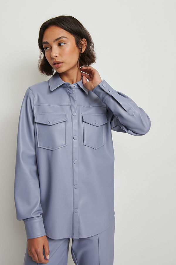 NA-KD Trend Pu-Skjorta Med Dubbla Fickor blå