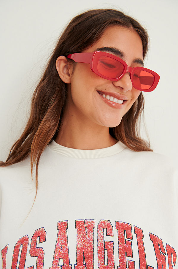 NA-KD Accessories Breda Solglasögon Med Retrobågar röd