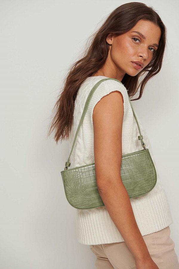 NA-KD Accessories mönstrad axelväska Reptile Baguette Bag grön