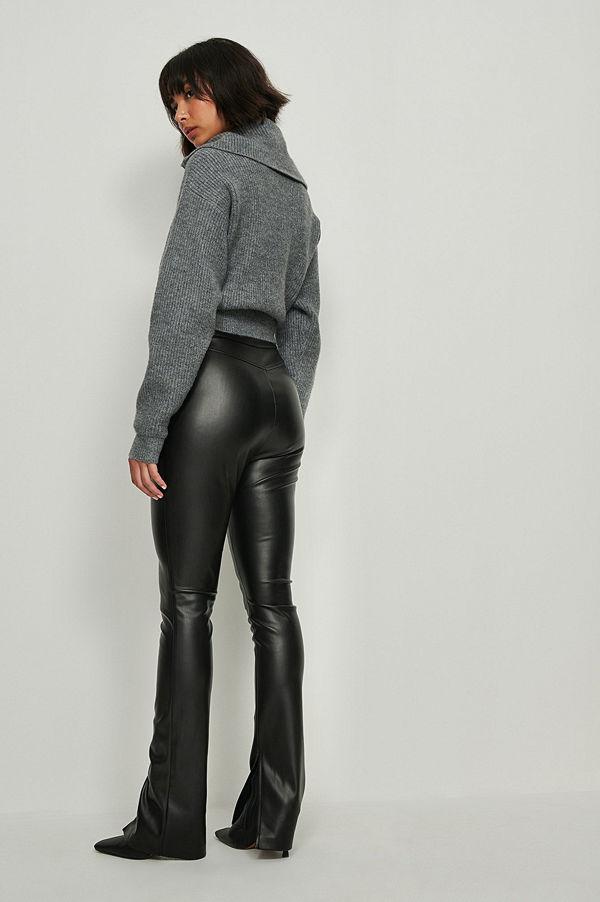 NA-KD Pu-Leggings Med Sidoslits svart