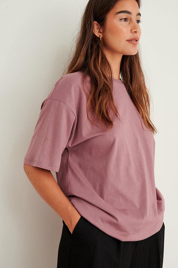 NA-KD Basic Ekologisk Oversize T-Shirt Med Rund Hals rosa