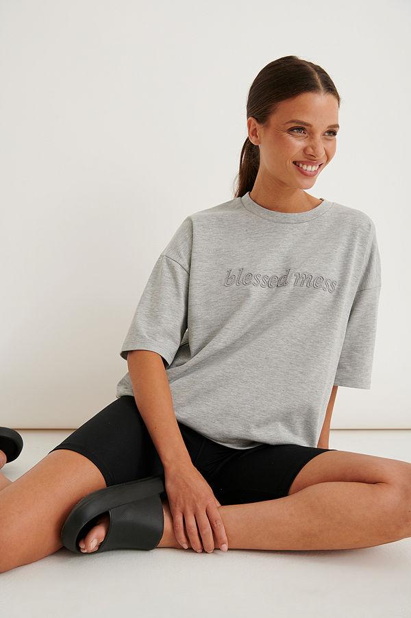 Marije Zuurveld x NA-KD Ekologisk Oversized T-shirt I Kraftig Bomull grå