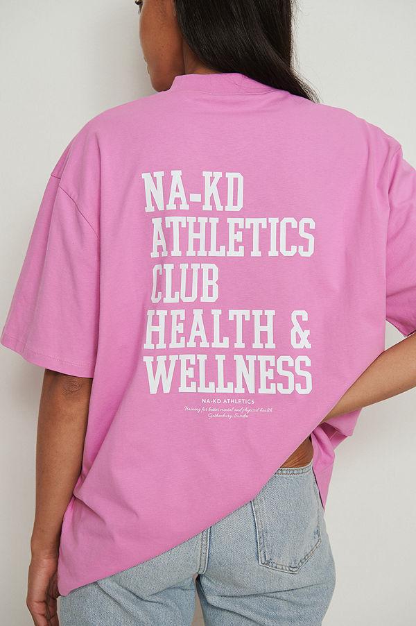 NA-KD Trend Ekologisk oversize T-shirt med hög krage rosa