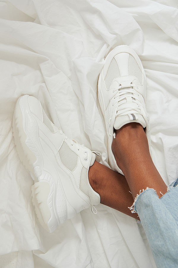 NA-KD Shoes Chunky meshträningsskor vit