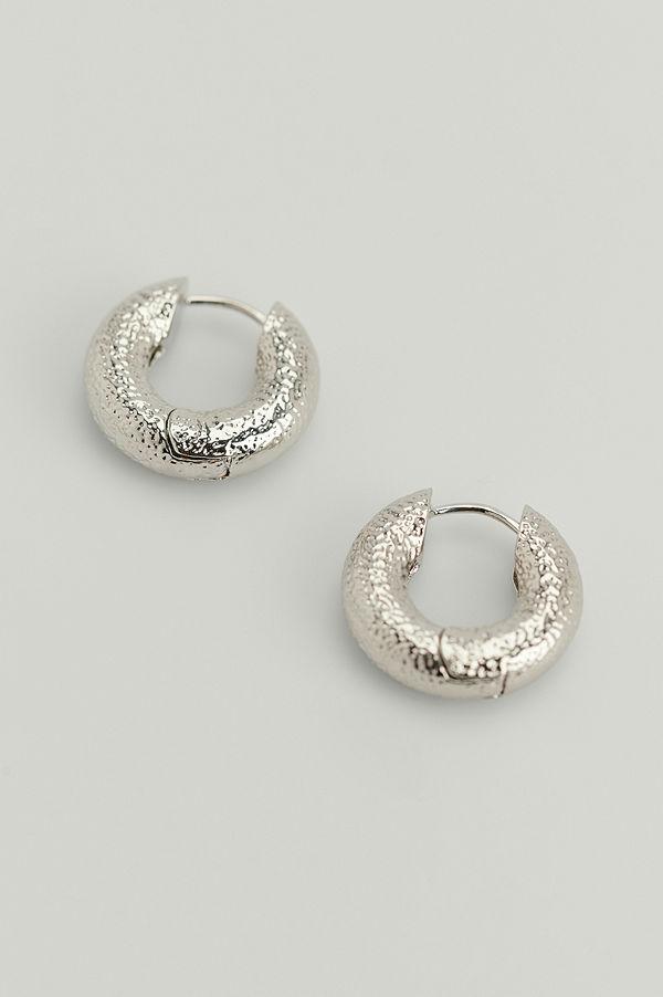 NA-KD Accessories smycke Chunky Återvunna Glänsande Hoops silver