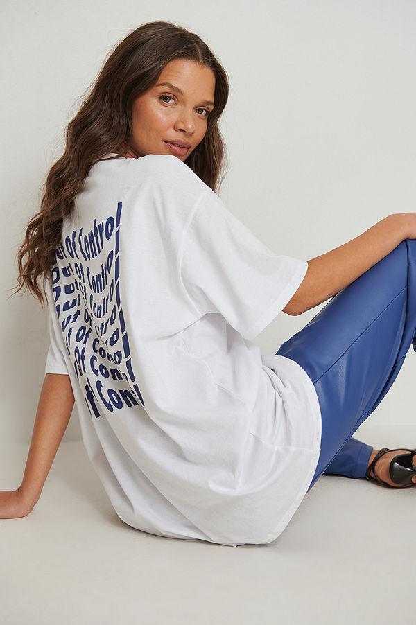NA-KD Ekologisk oversize t-shirt med tryck vit