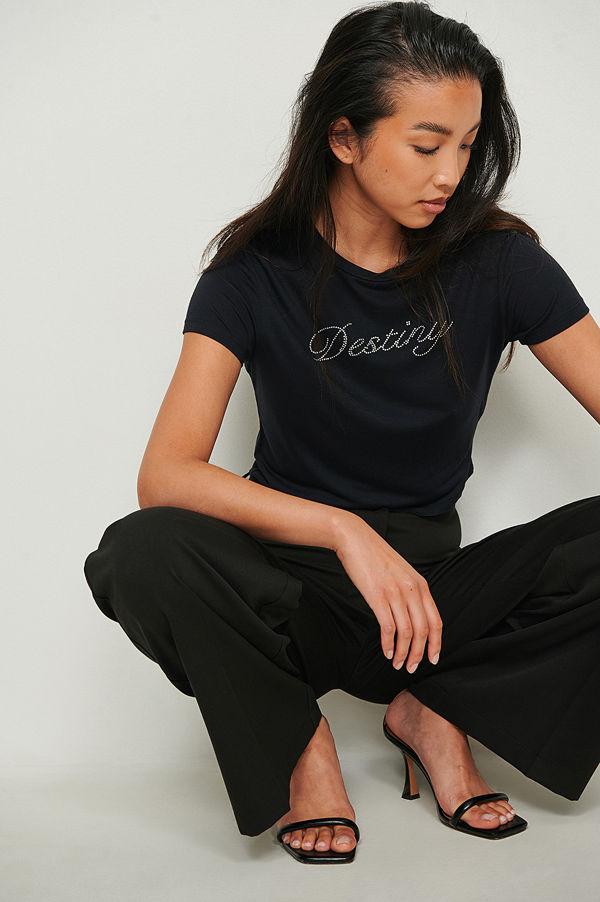 NA-KD Tryckt t-shirt svart