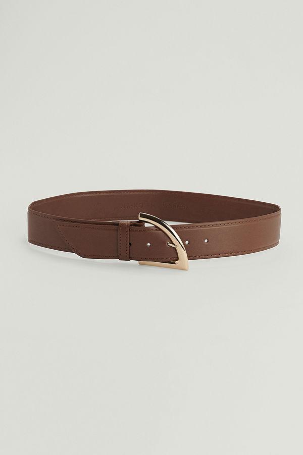 NA-KD Accessories Kantigt bälte med spänne brun