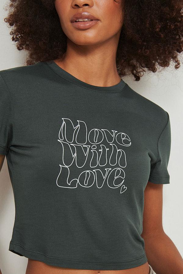 NA-KD T-shirt med Love tryck grå