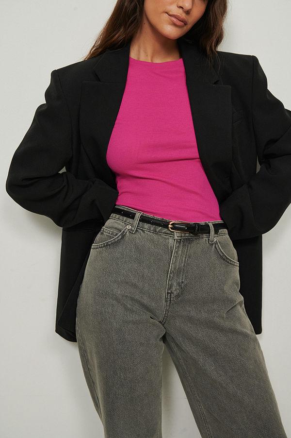 NA-KD Basic Återvunnen ribbstickad topp med rund halsringning rosa