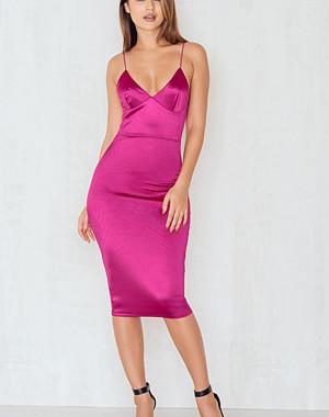 Rebecca Stella Up All Night Satin Slip Midi Dress