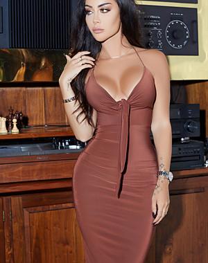 Rebecca Stella Have It My Way Tie Front Midi Dress