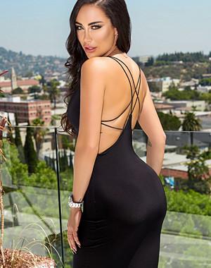Rebecca Stella Social Media Star Back Strap Midi Dress