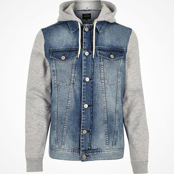 River Island Blue jersey hoodie denim jacket