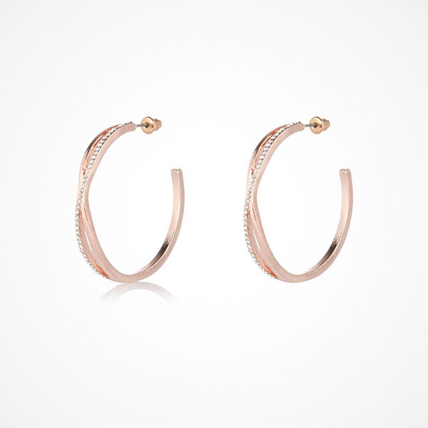 River Island örhängen Rose Gold tone twist hoop earrings