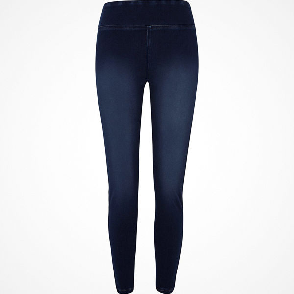 River Island Dark Blue faded denim leggings