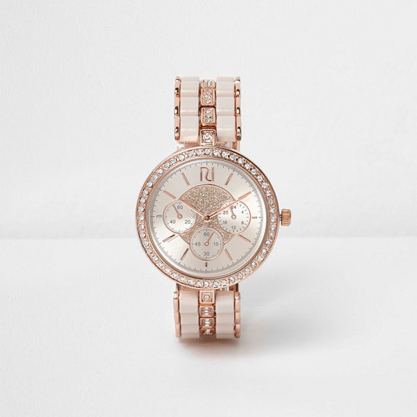 River Island Rose Gold tone diamante watch