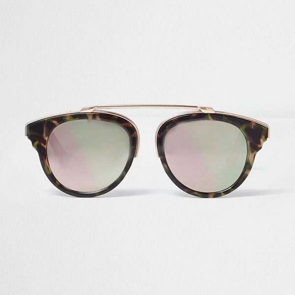 River Island Brown camo print pink mirror sunglasses