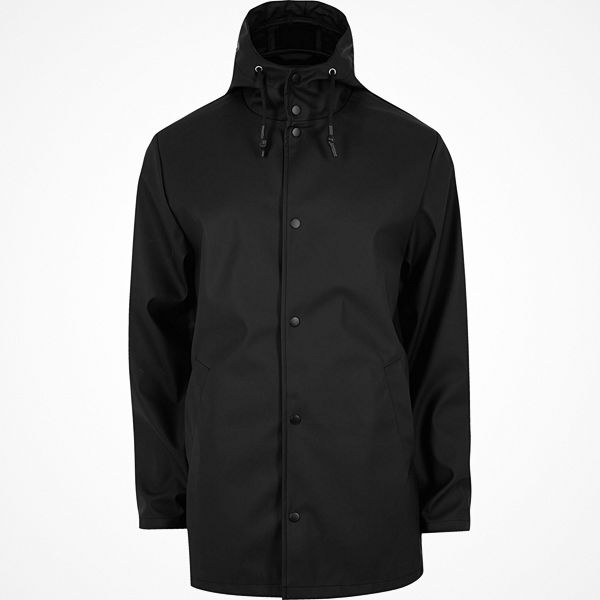 River Island Black water resistant hooded jacket