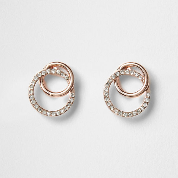 River Island örhängen Rose Gold interlocking diamante earrings