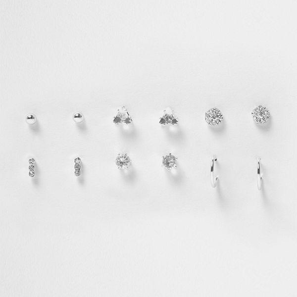 River Island örhängen Silver tone diamante stud earrings pack