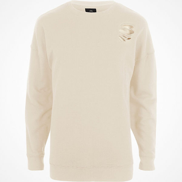 River Island River Island Mens Cream ripped oversized sweatshirt