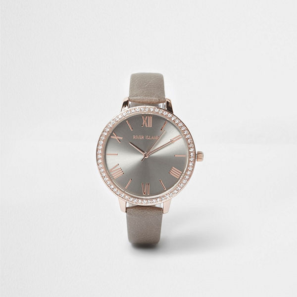 River Island Grey and rose gold tone diamante face watch