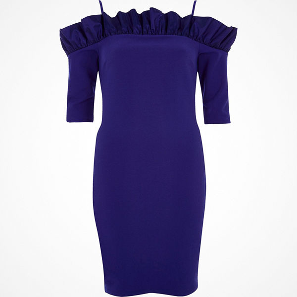 River Island River Island Womens Blue bardot frill bodycon mini dress