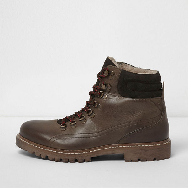 River Island Dark Green borg lined lace-up hiker boots