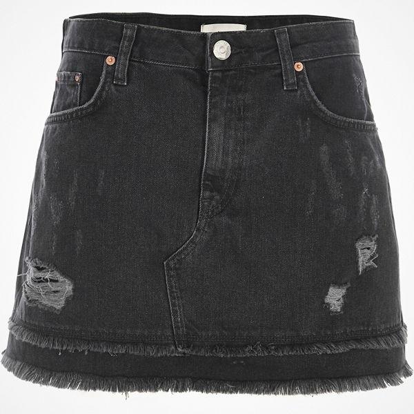 River Island Black distressed denim mini skirt