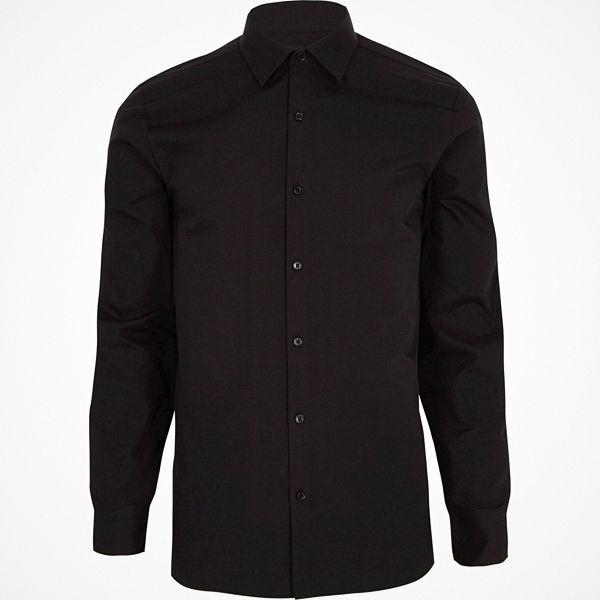 River Island Big and Tall Black long sleeve shirt