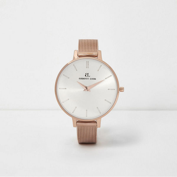 River Island Rose Gold plated Abbott Lyon slim mesh watch