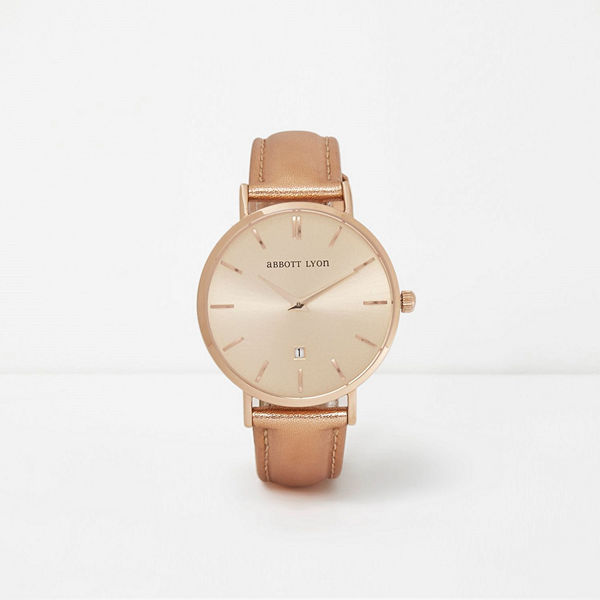 River Island Metallic rose Gold leather Abbott Lyon watch
