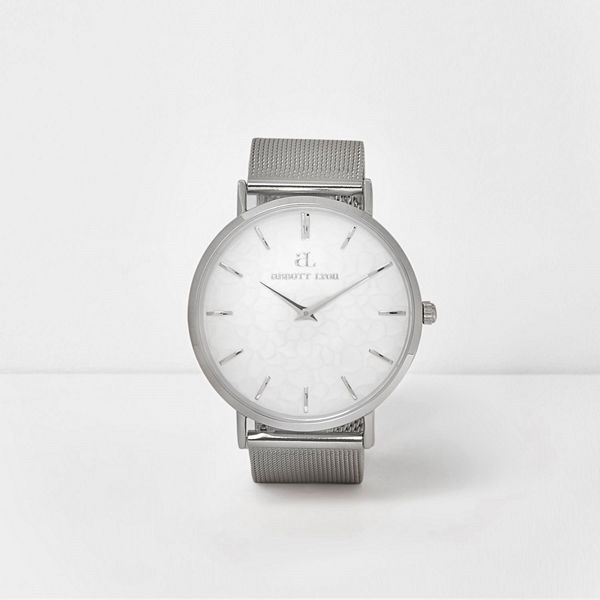 River Island Silver plated Abbott Lyon mesh strap watch