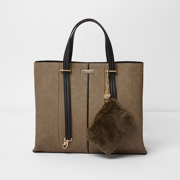 River Island väska Khaki long handle pouchette tote bag