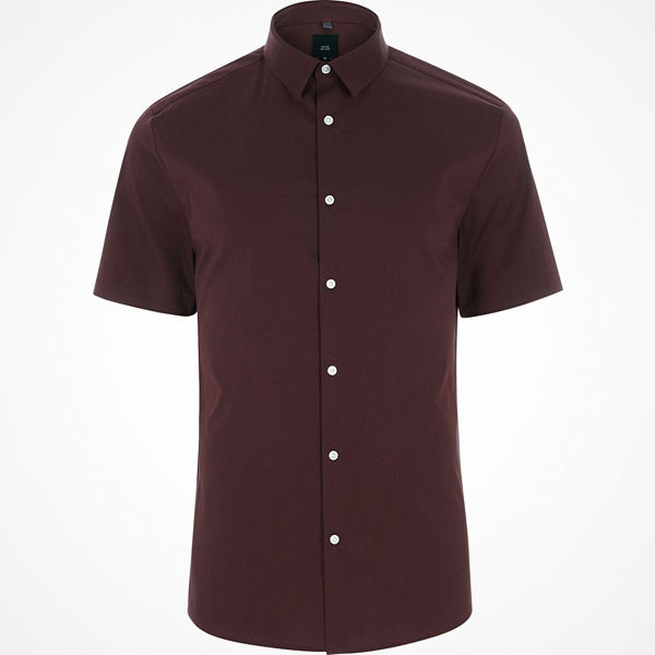 River Island Dark Purple Big and Tall short sleeve shirt