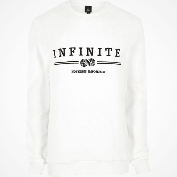 River Island White 'infinity' embroidered soft sweatshirt