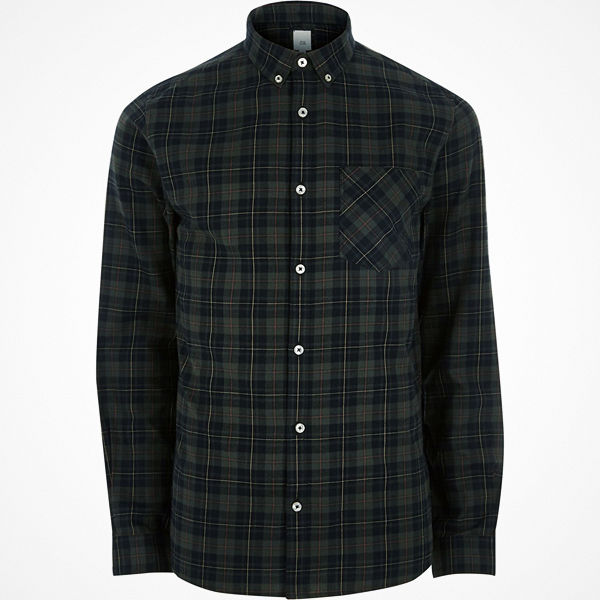 River Island Green check long sleeve shirt