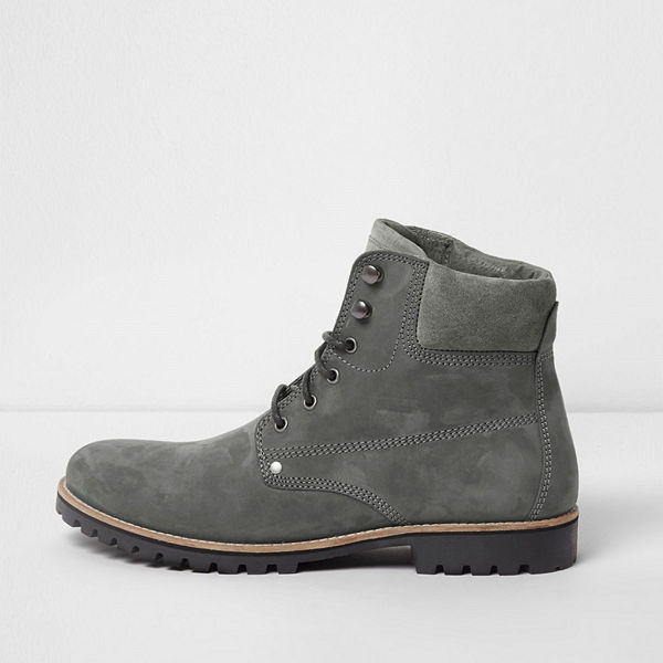 River Island Grey leather lace-up worker boots