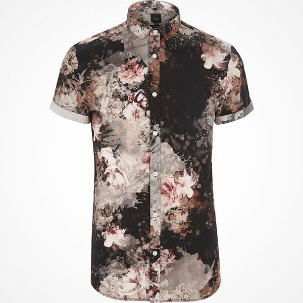 River Island Black floral print slim fit shirt