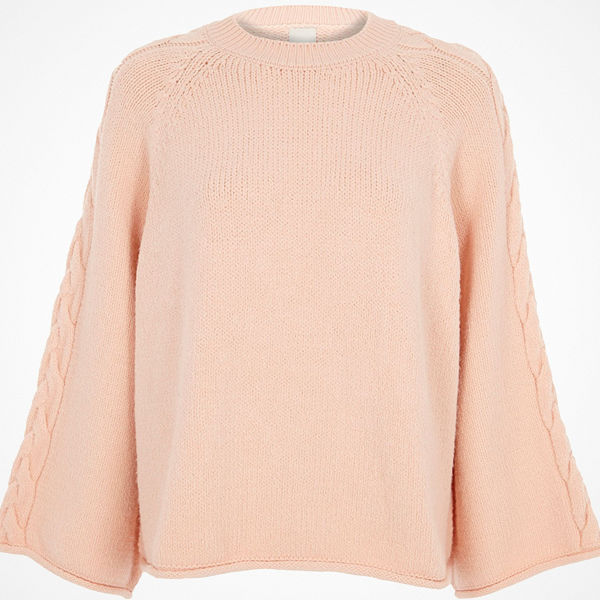 River Island Light Pink cable knit wide sleeve jumper