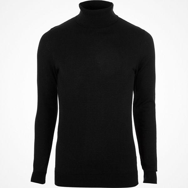 River Island Black slim fit roll neck jumper
