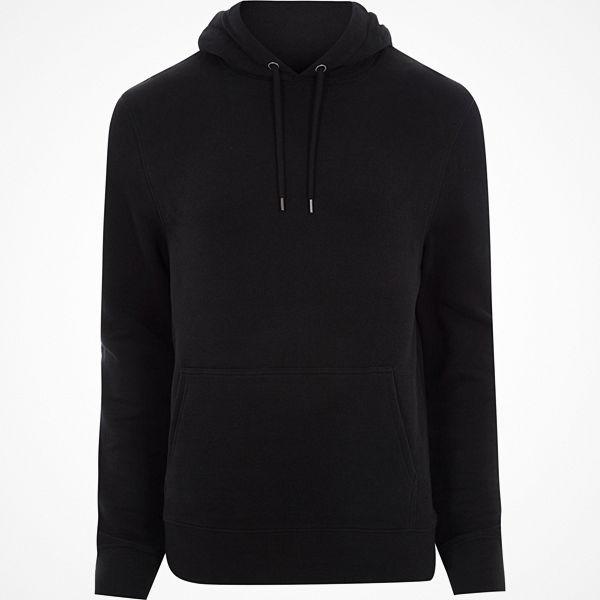 River Island Black long sleeve jersey hoodie