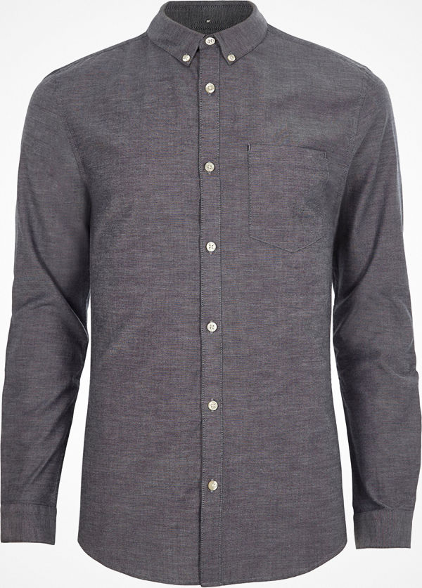 River Island Grey muscle fit long sleeve Oxford shirt