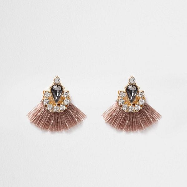 River Island örhängen Beige tassel fan jewel embellished earrings