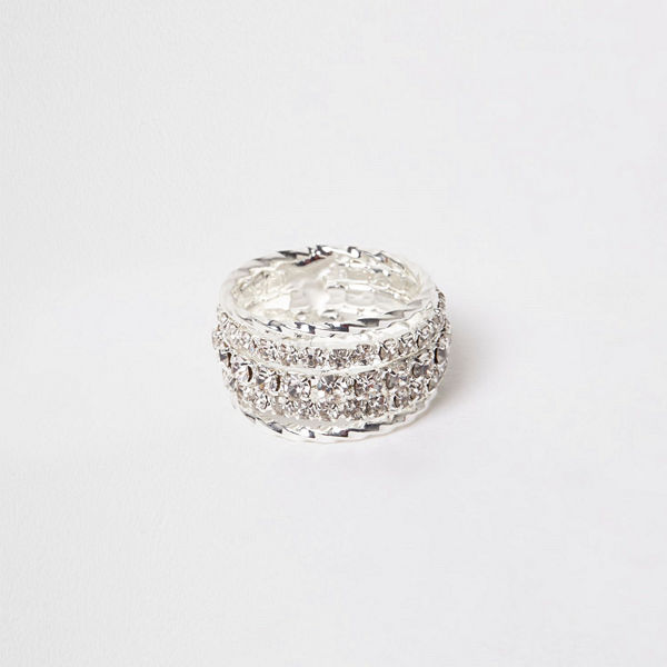 River Island Silver tone diamante encrusted ring