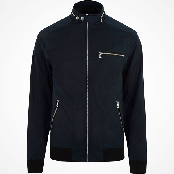 River Island Navy racer neck jacket
