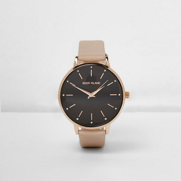 River Island Beige strap black round face watch