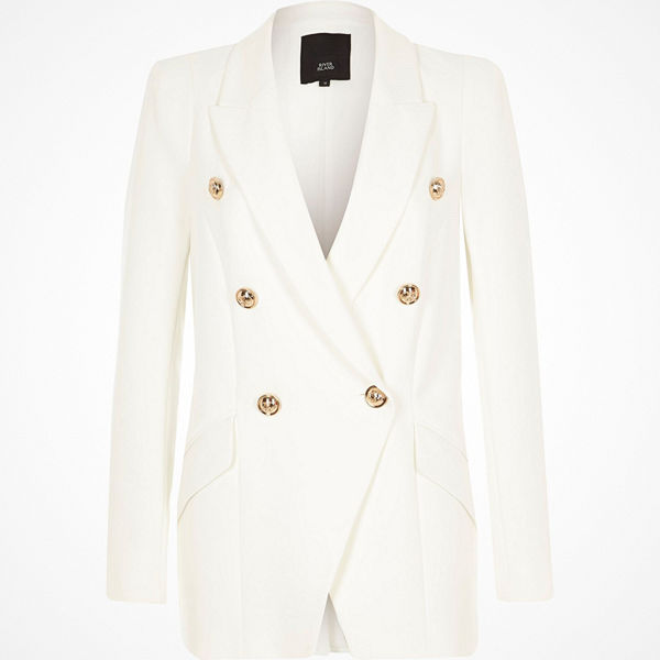 River Island White double breasted tux jacket