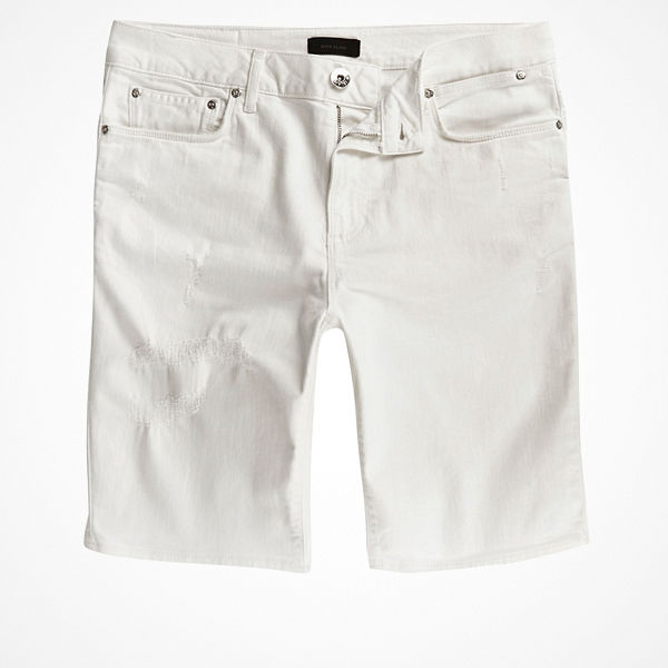 River Island White ripped Sid skinny denim shorts